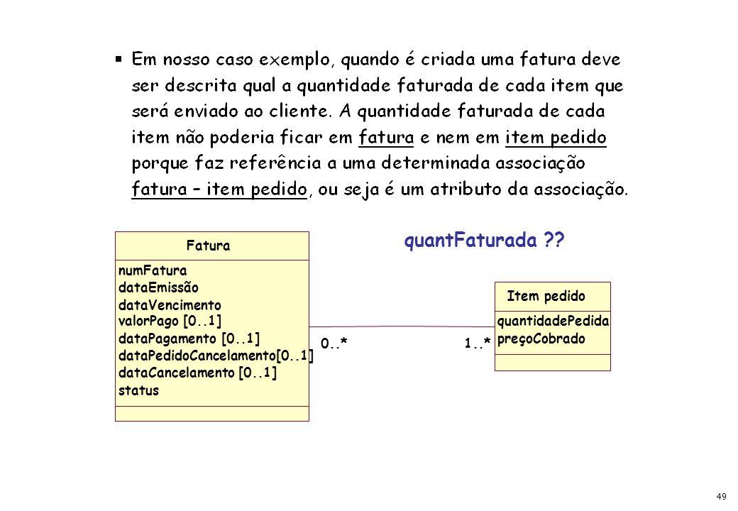 quantFaturada Fatura numFatura dataEmissão Item pedido