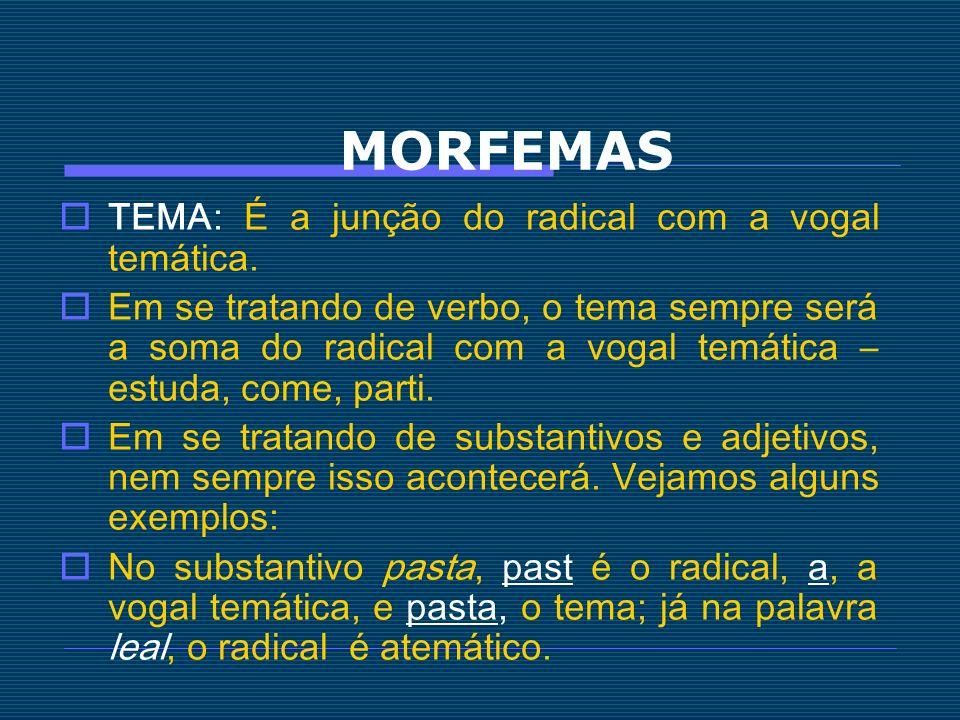 MORFEMAS TEMA: É a junção do radical com a vogal temática.