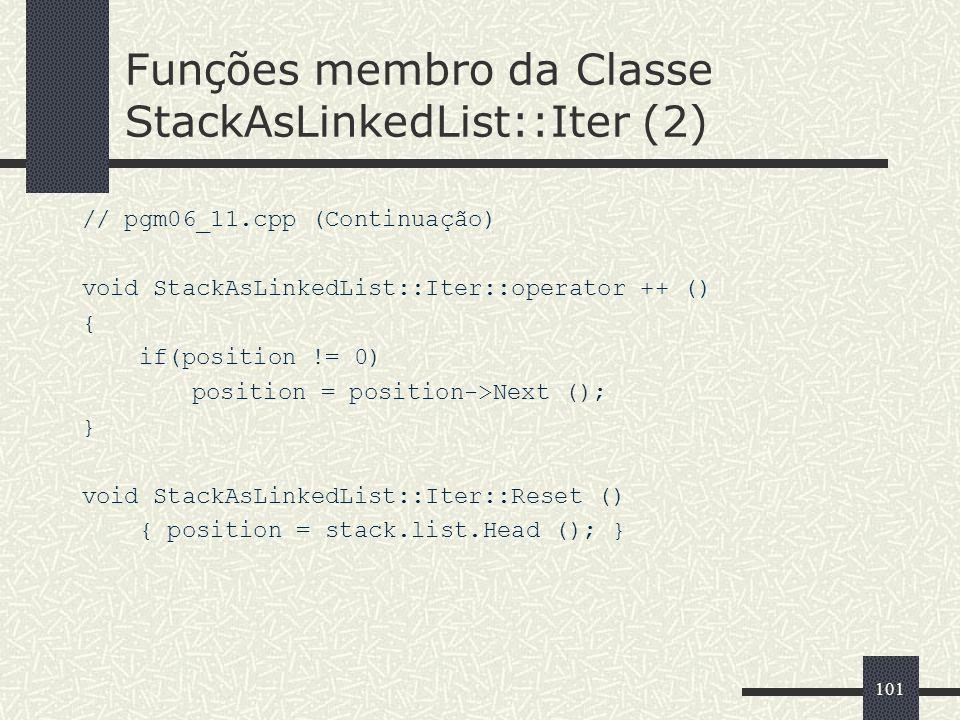 Funções membro da Classe StackAsLinkedList::Iter (2)
