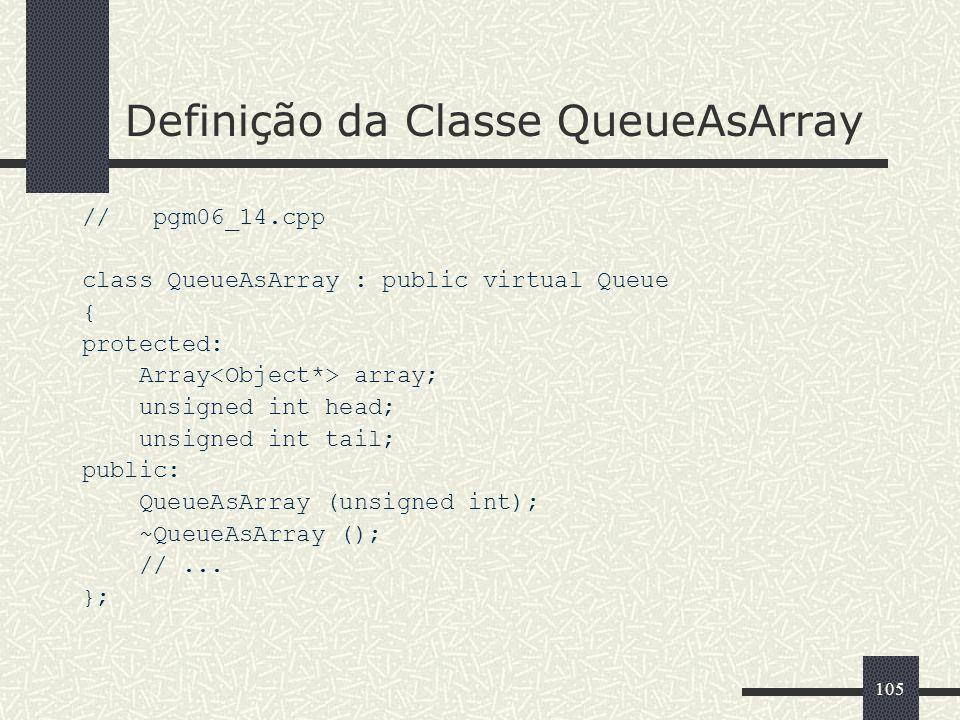 Definição da Classe QueueAsArray