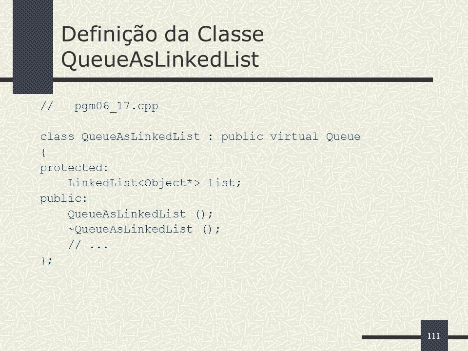 Definição da Classe QueueAsLinkedList