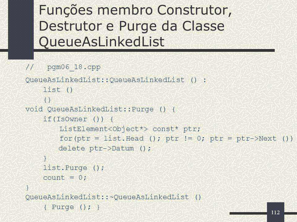Funções membro Construtor, Destrutor e Purge da Classe QueueAsLinkedList