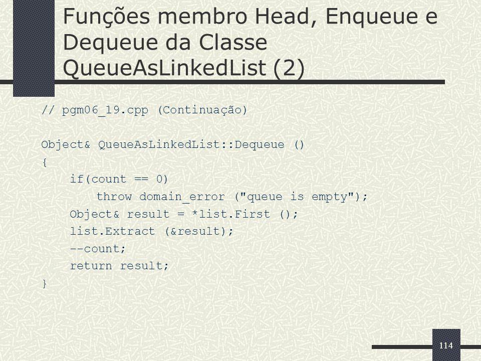 Funções membro Head, Enqueue e Dequeue da Classe QueueAsLinkedList (2)