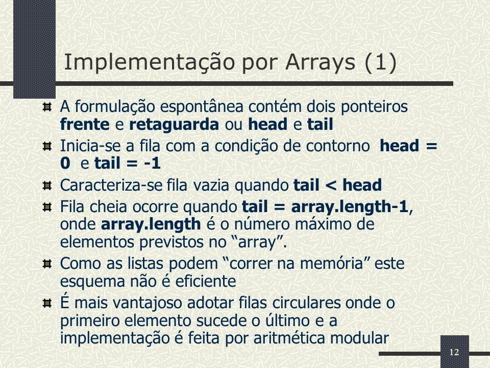 Implementação por Arrays (1)