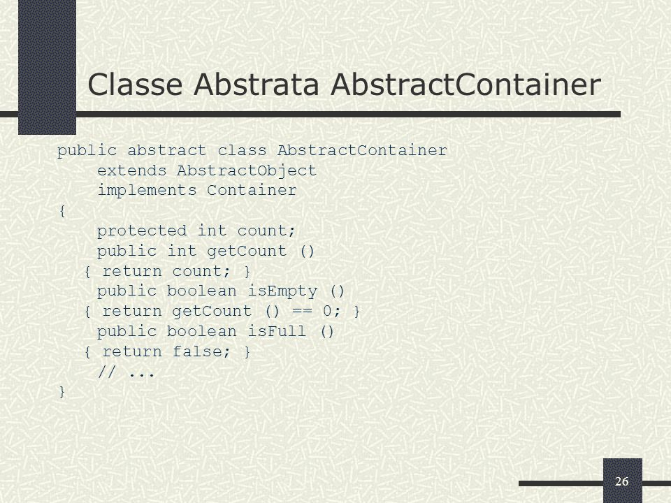 Classe Abstrata AbstractContainer