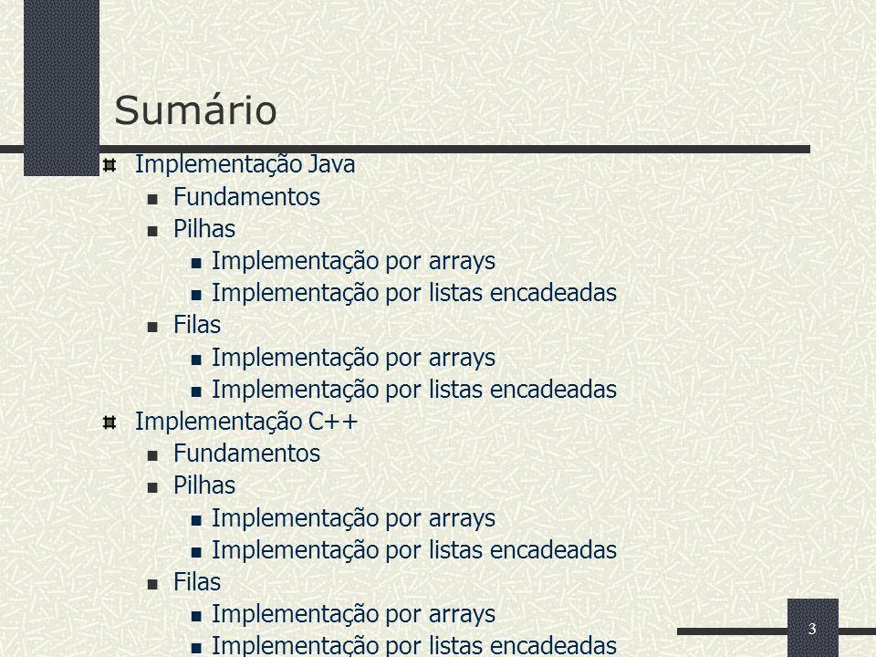 Sumário Implementação Java Fundamentos Pilhas Implementação por arrays