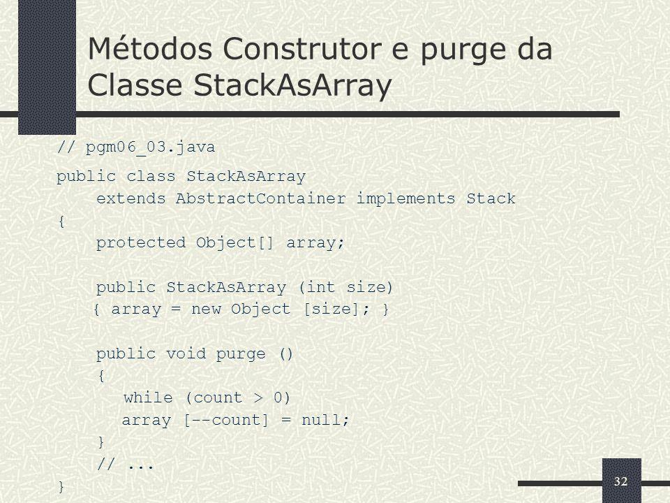 Métodos Construtor e purge da Classe StackAsArray