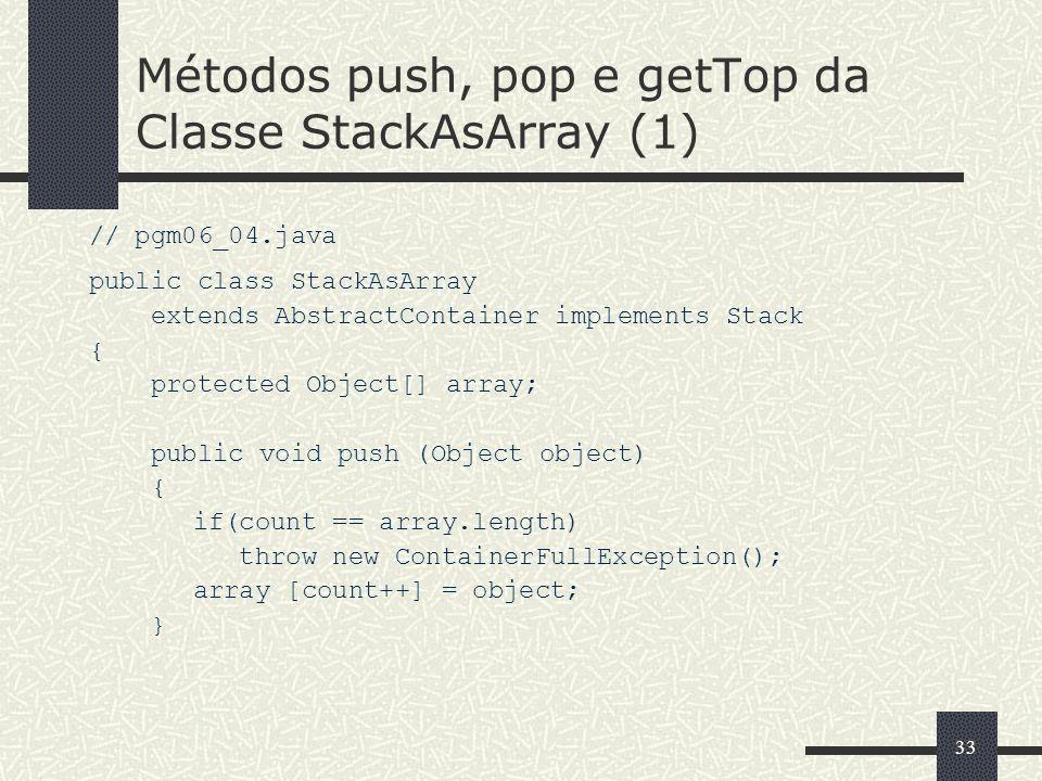 Métodos push, pop e getTop da Classe StackAsArray (1)