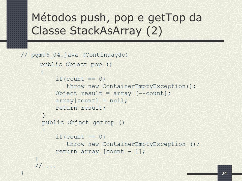 Métodos push, pop e getTop da Classe StackAsArray (2)