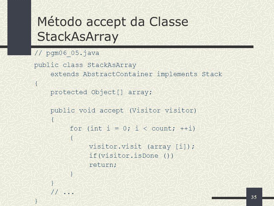 Método accept da Classe StackAsArray
