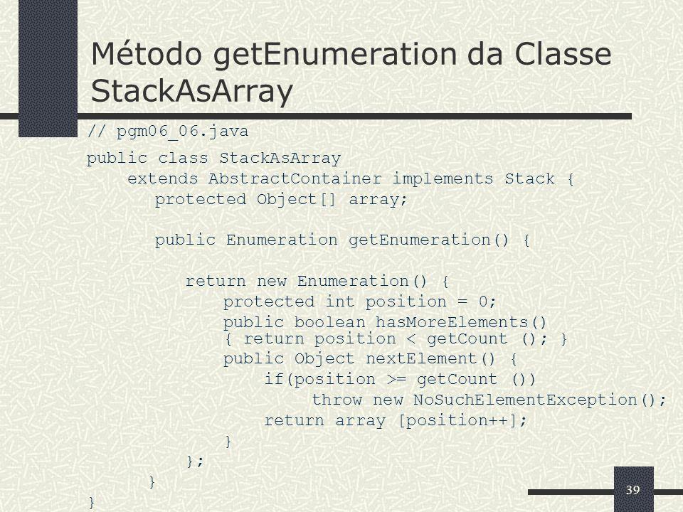 Método getEnumeration da Classe StackAsArray