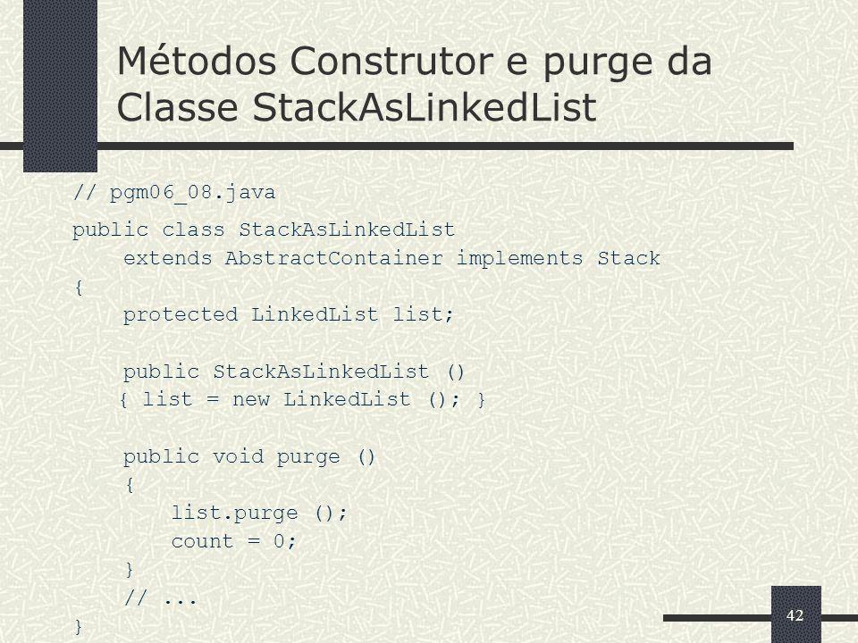 Métodos Construtor e purge da Classe StackAsLinkedList
