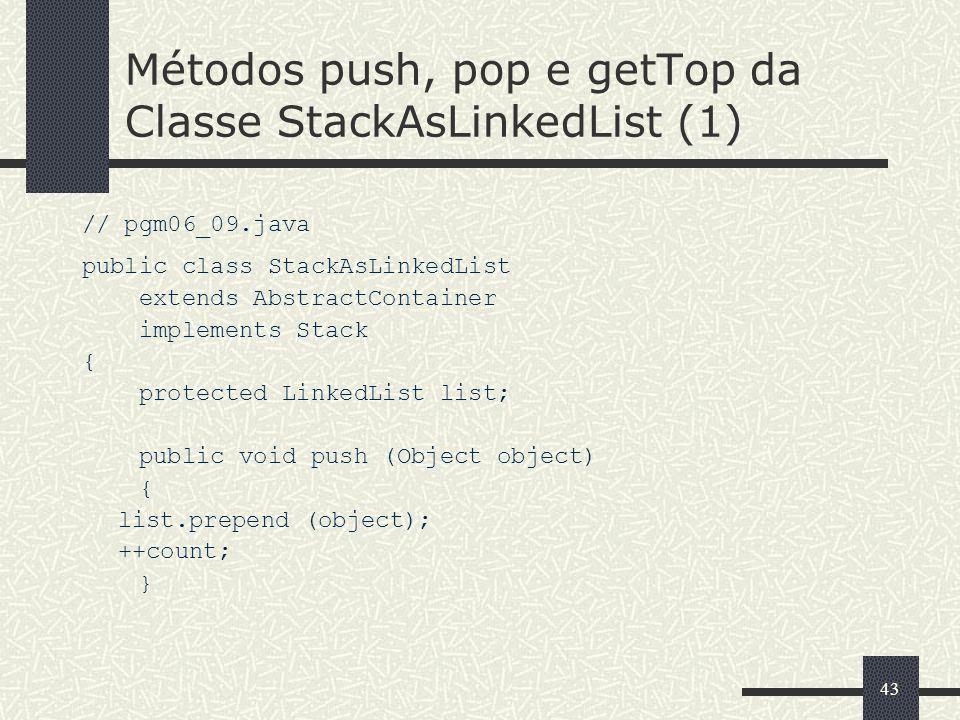 Métodos push, pop e getTop da Classe StackAsLinkedList (1)