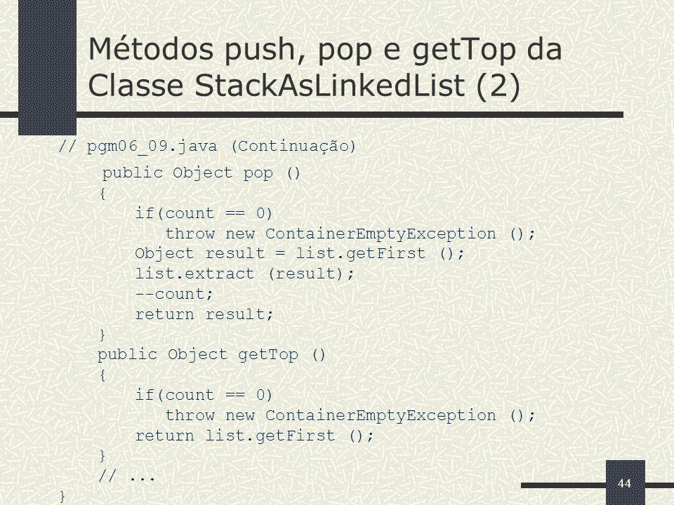 Métodos push, pop e getTop da Classe StackAsLinkedList (2)