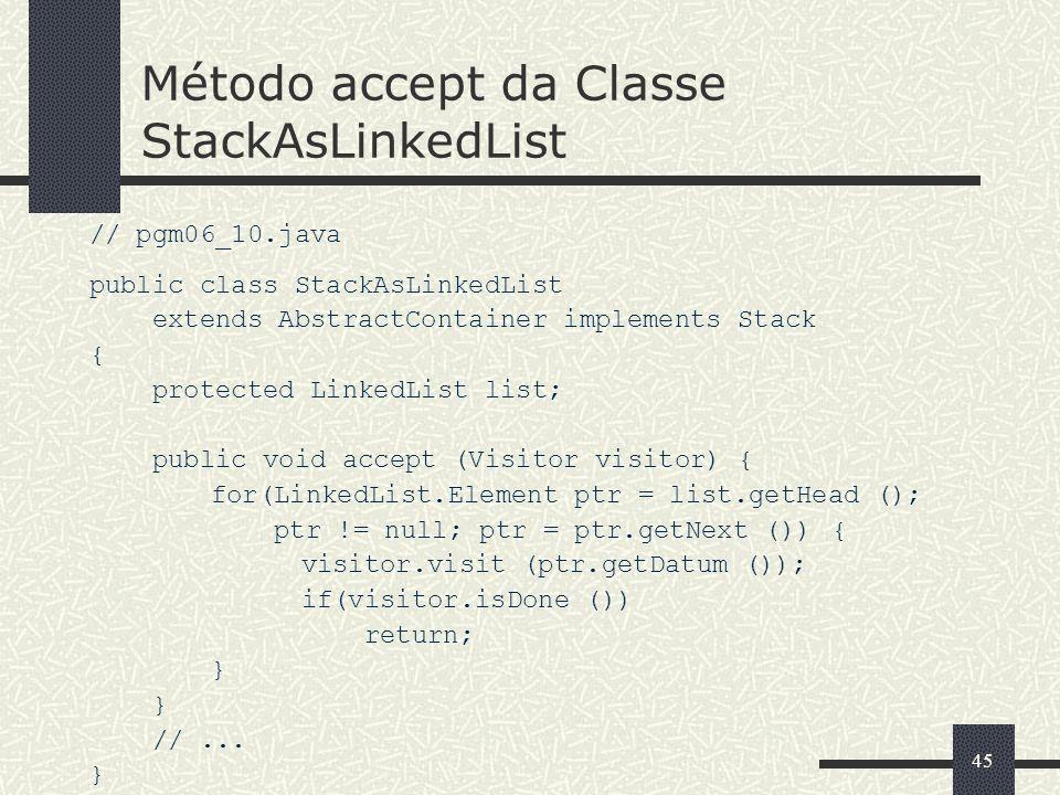Método accept da Classe StackAsLinkedList