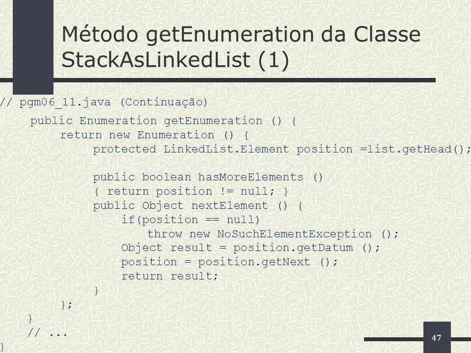Método getEnumeration da Classe StackAsLinkedList (1)