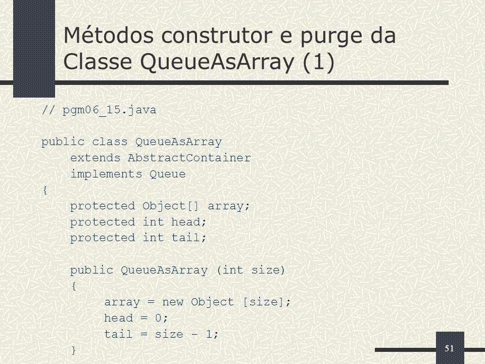 Métodos construtor e purge da Classe QueueAsArray (1)