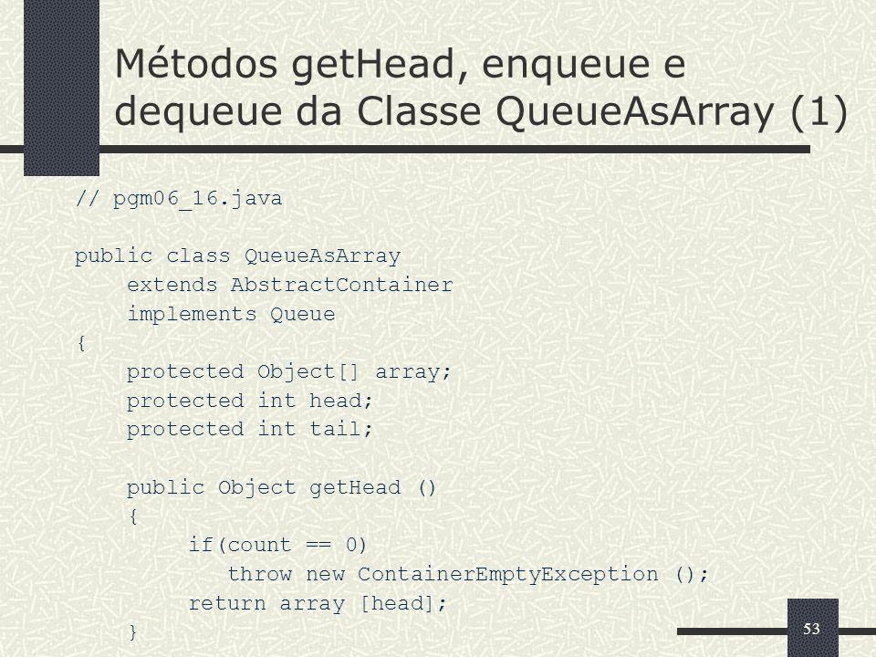Métodos getHead, enqueue e dequeue da Classe QueueAsArray (1)