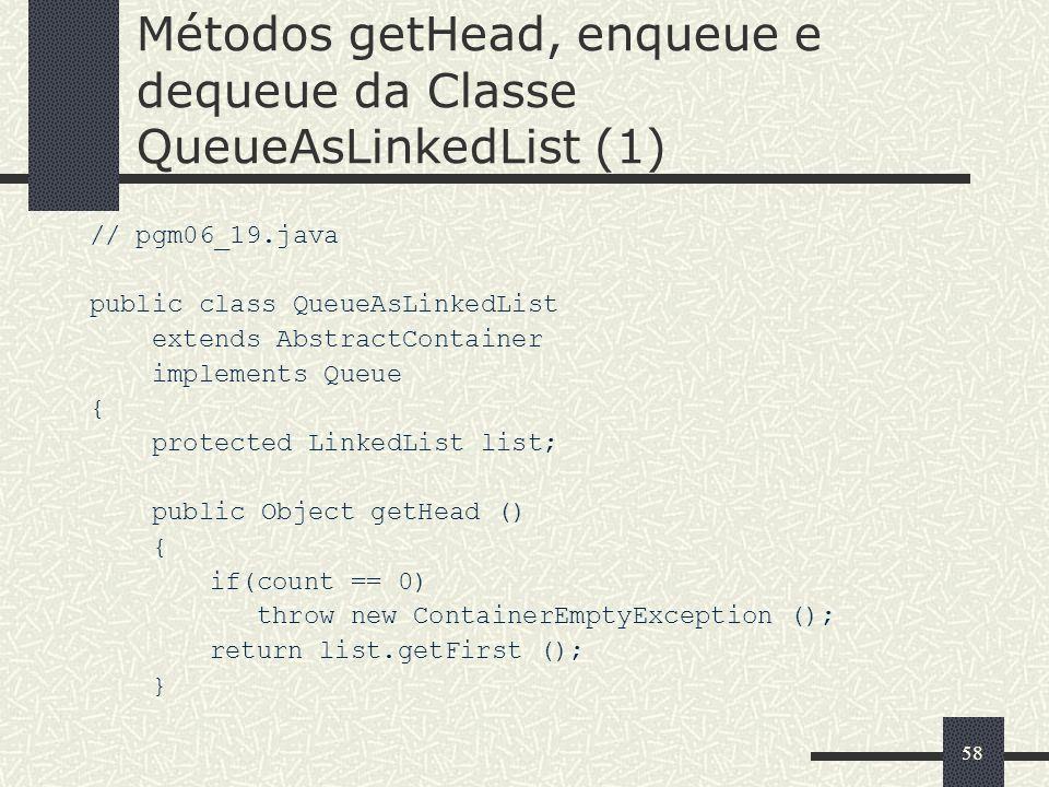 Métodos getHead, enqueue e dequeue da Classe QueueAsLinkedList (1)