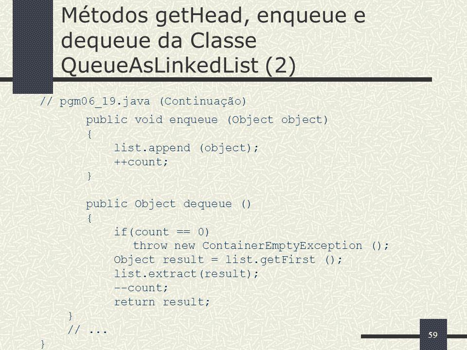 Métodos getHead, enqueue e dequeue da Classe QueueAsLinkedList (2)