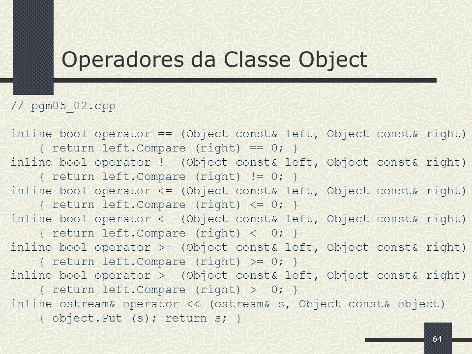 Operadores da Classe Object