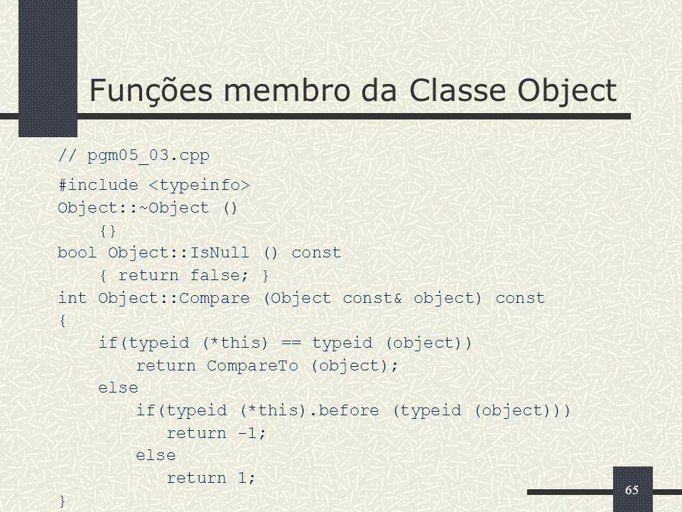 Funções membro da Classe Object