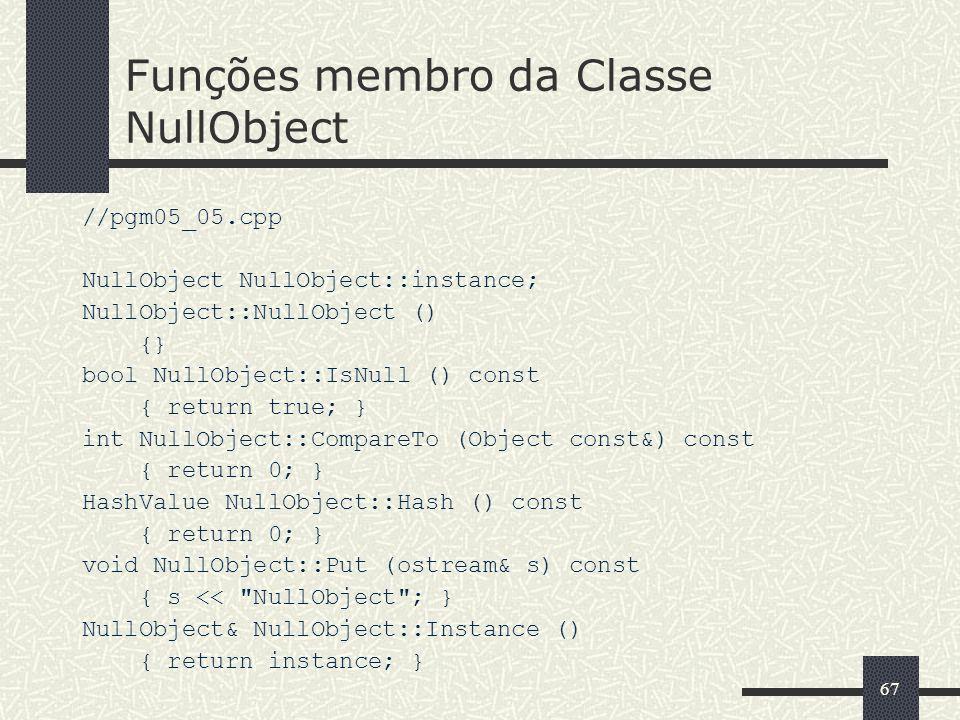 Funções membro da Classe NullObject