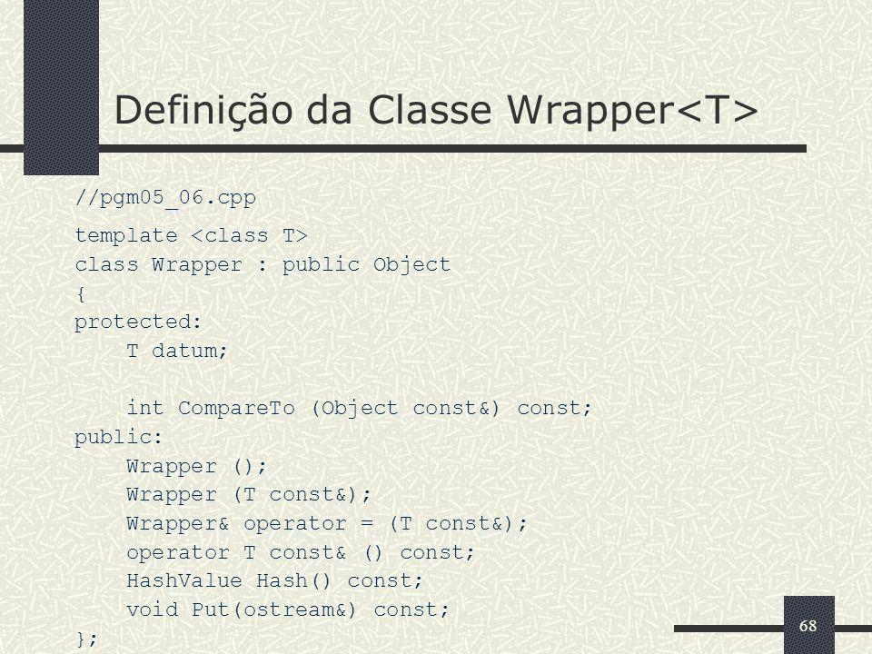 Definição da Classe Wrapper<T>