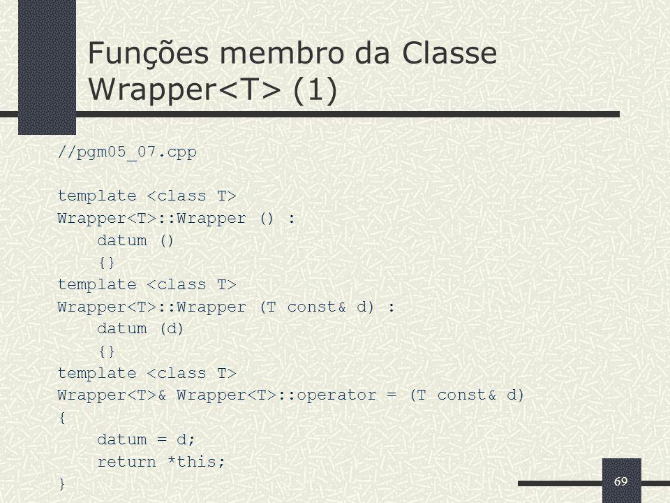 Funções membro da Classe Wrapper<T> (1)