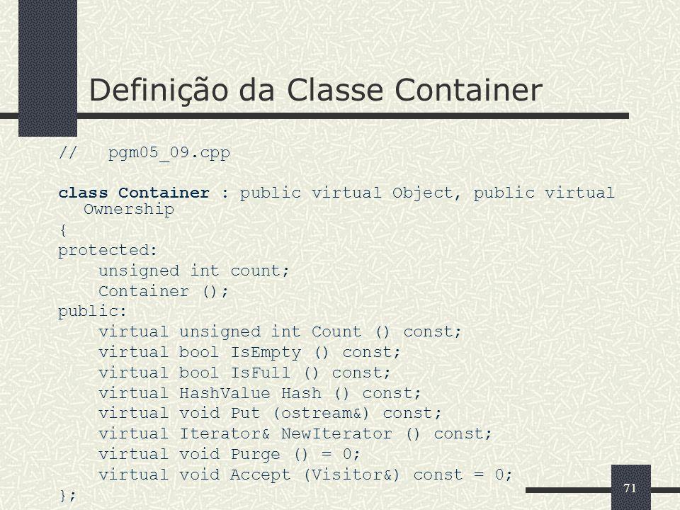 Definição da Classe Container
