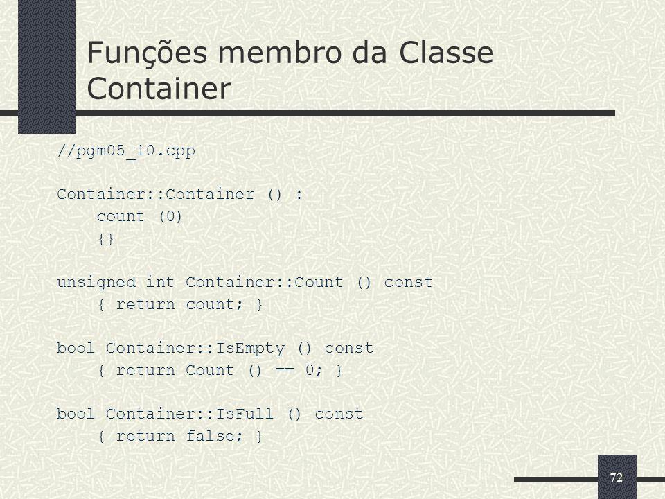 Funções membro da Classe Container