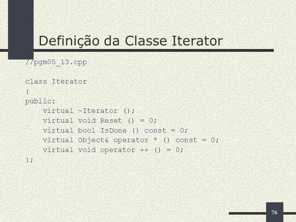 Definição da Classe Iterator