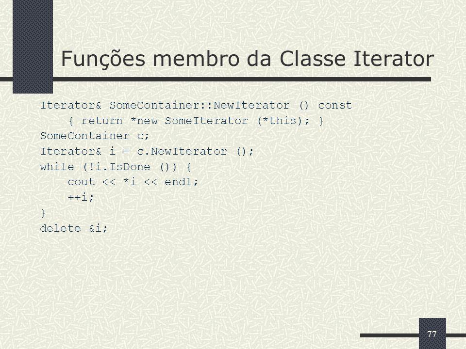 Funções membro da Classe Iterator