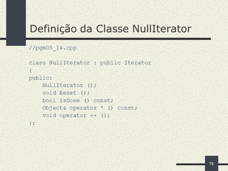 Definição da Classe NullIterator