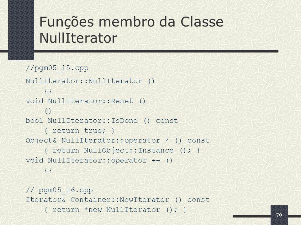 Funções membro da Classe NullIterator