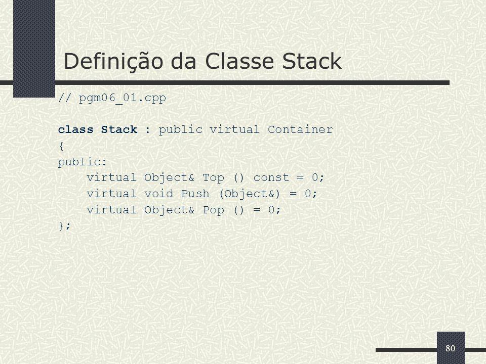 Definição da Classe Stack