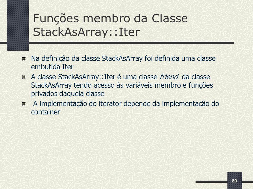 Funções membro da Classe StackAsArray::Iter