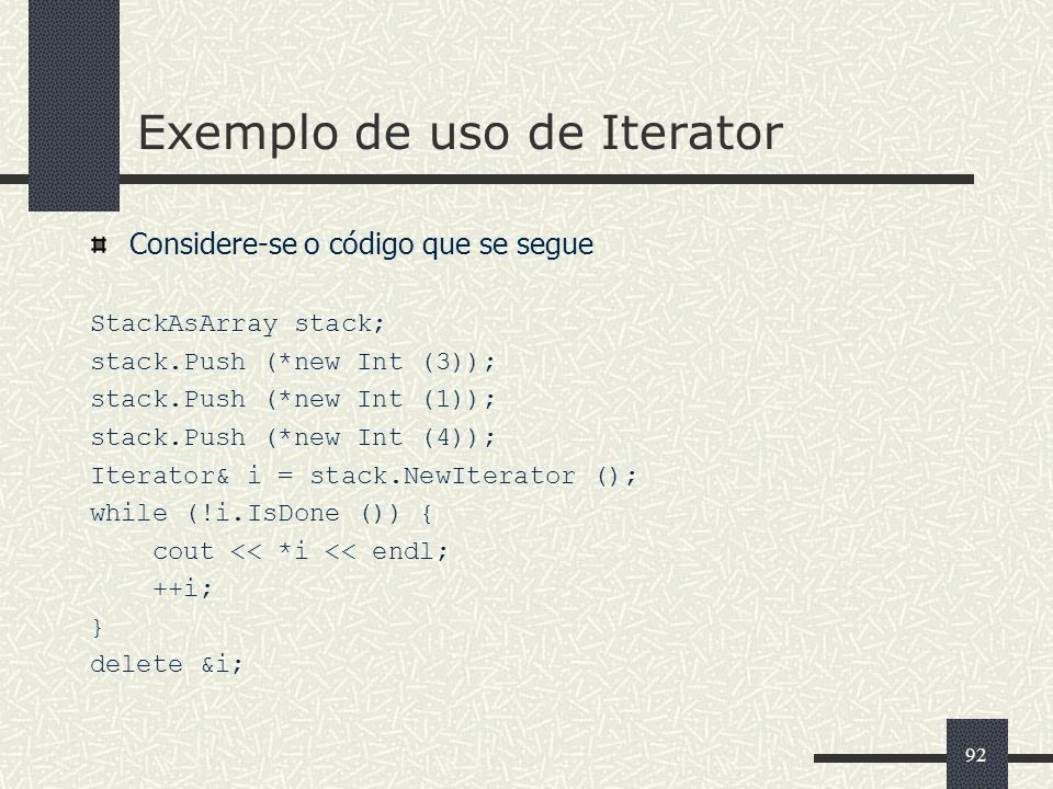 Exemplo de uso de Iterator