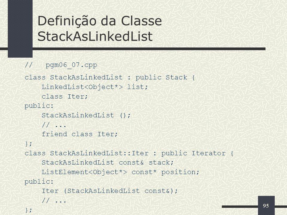 Definição da Classe StackAsLinkedList