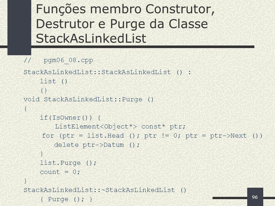 Funções membro Construtor, Destrutor e Purge da Classe StackAsLinkedList