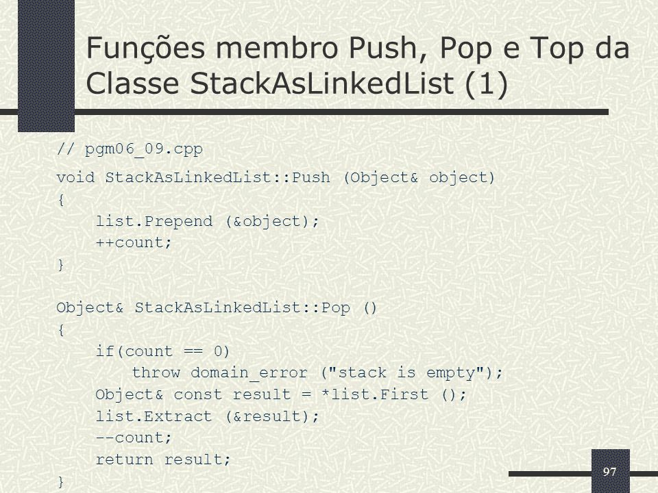Funções membro Push, Pop e Top da Classe StackAsLinkedList (1)
