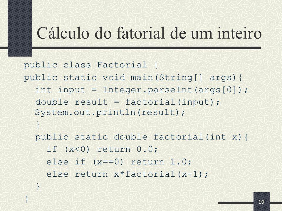 Cálculo do fatorial de um inteiro