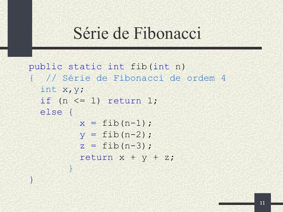 Série de Fibonacci public static int fib(int n)