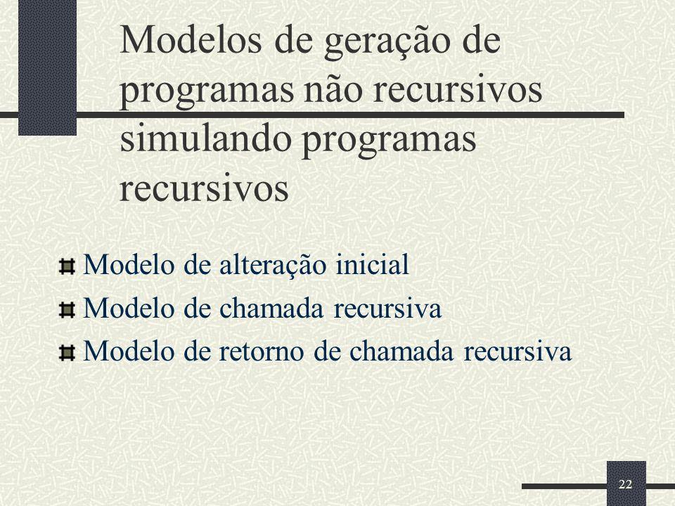 Modelos de geração de programas não recursivos simulando programas recursivos