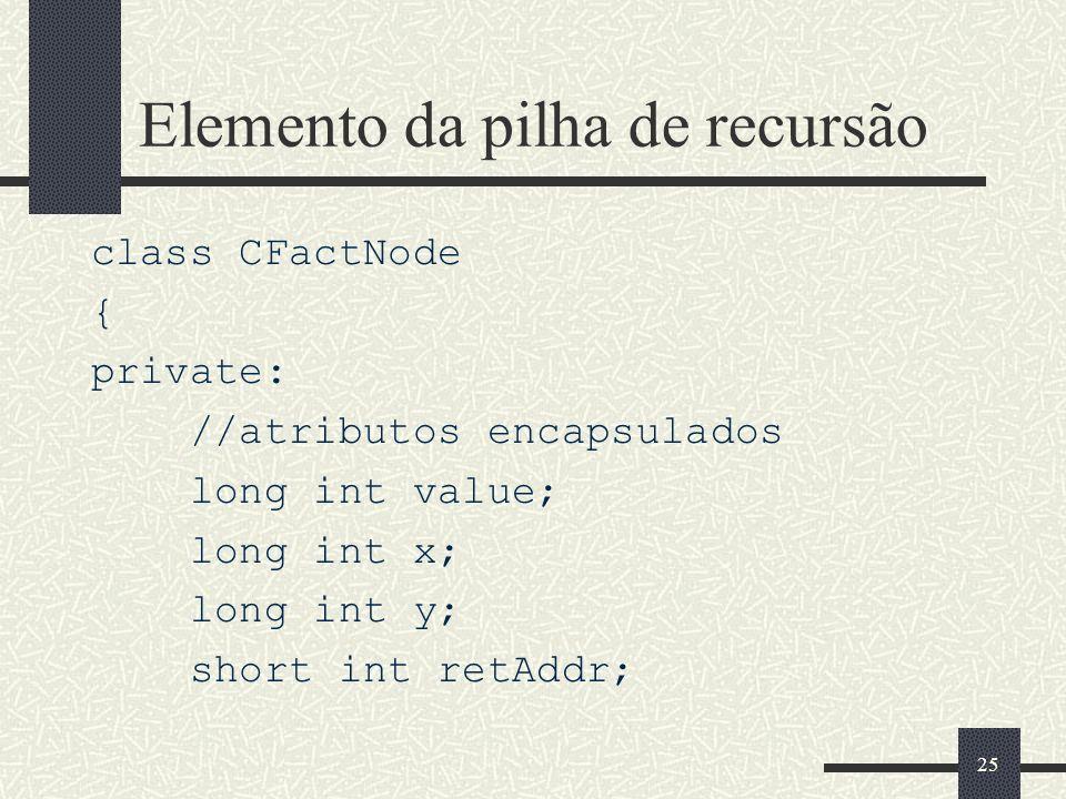 Elemento da pilha de recursão