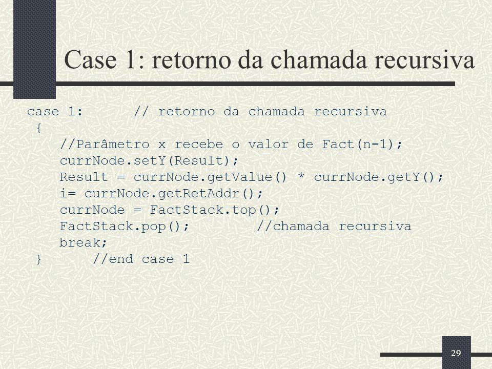 Case 1: retorno da chamada recursiva
