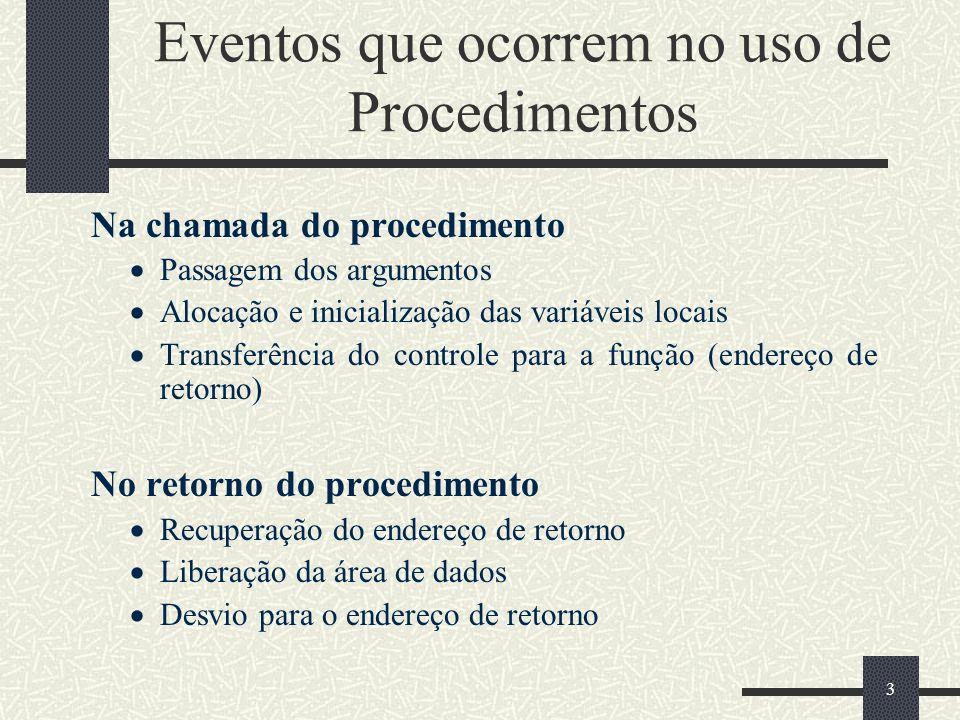 Eventos que ocorrem no uso de Procedimentos