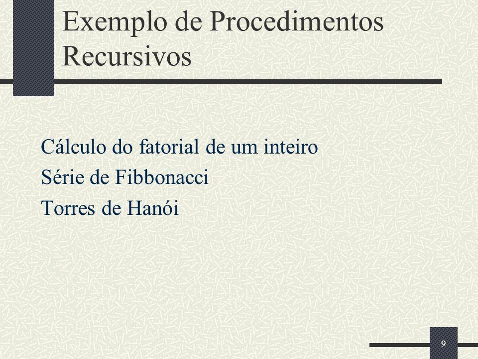 Exemplo de Procedimentos Recursivos