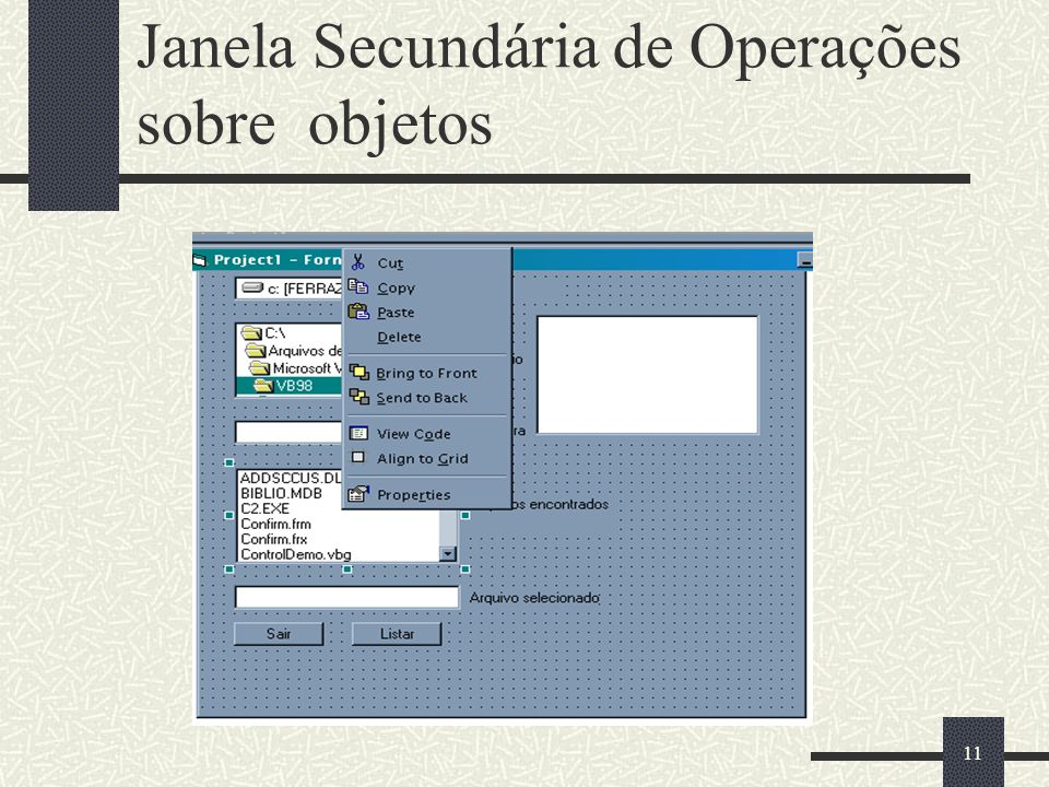 Janela Secundária de Operações sobre objetos