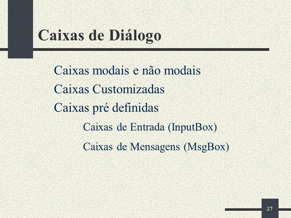 Caixas de Diálogo Caixas modais e não modais Caixas Customizadas